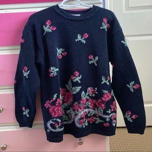 Kari roses knit sweater cottagecore